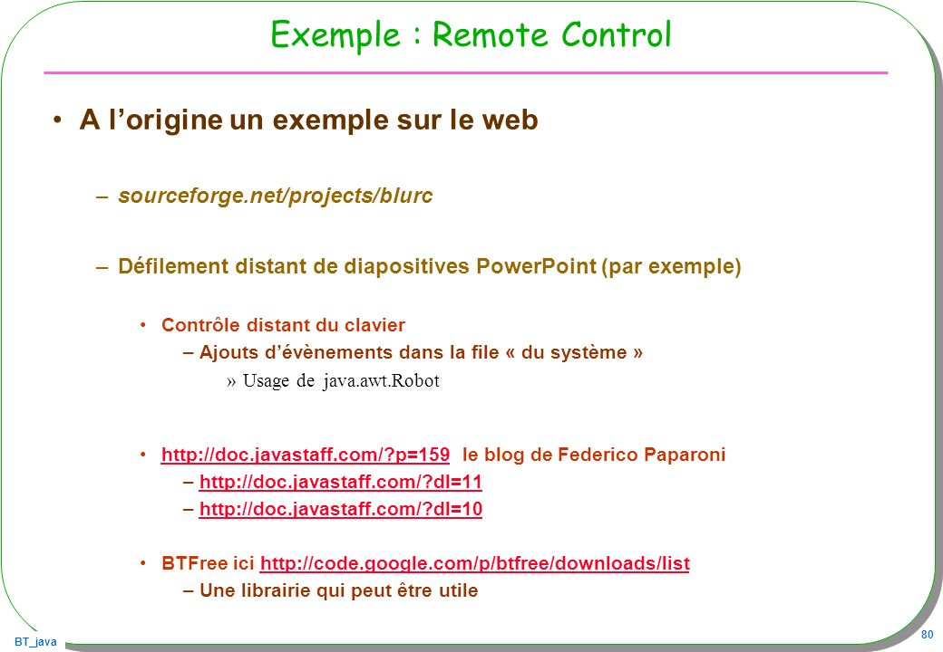 Exemple : Remote Control