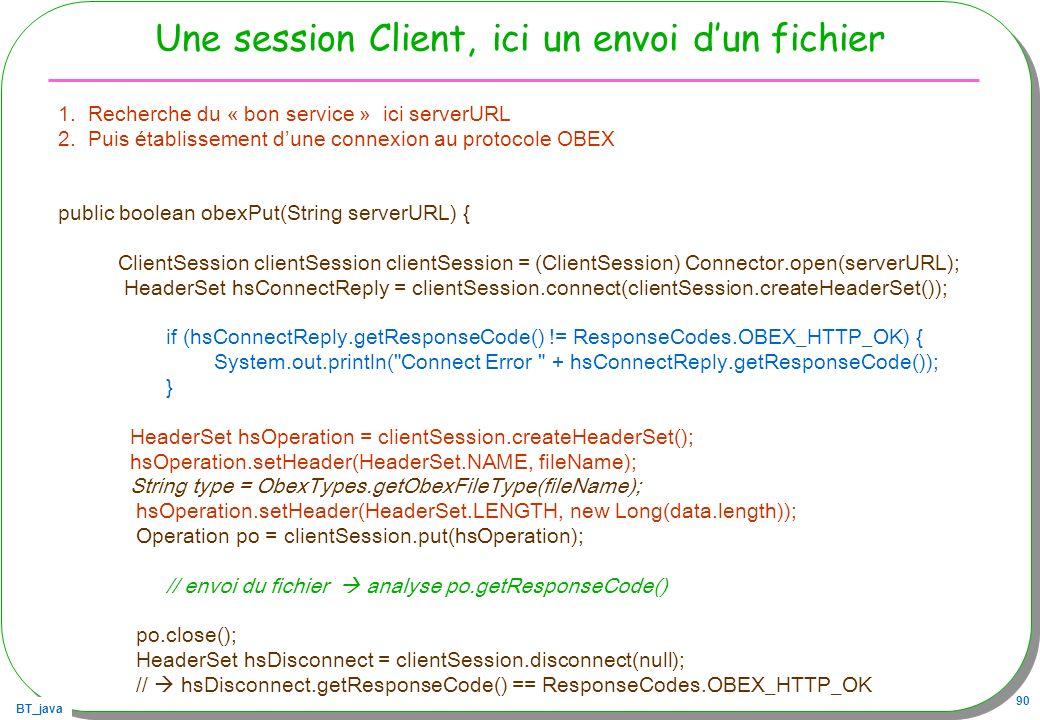 Une session Client, ici un envoi d'un fichier