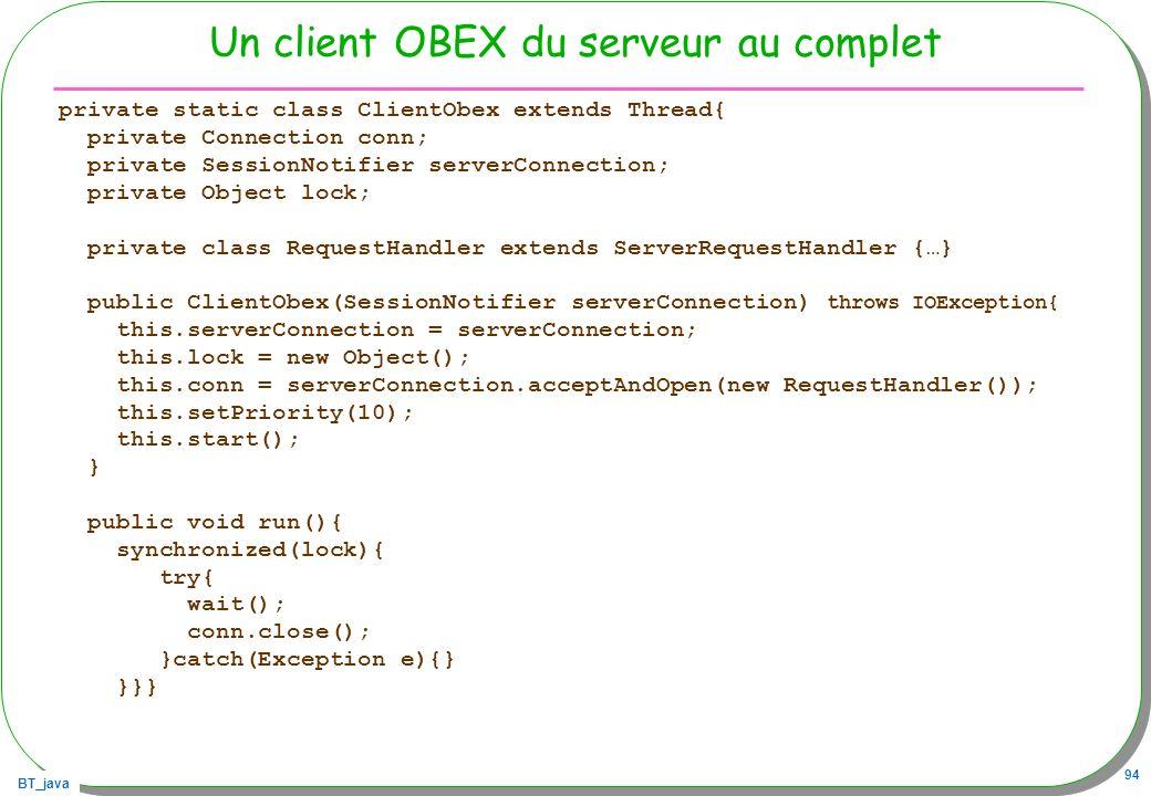 Un client OBEX du serveur au complet