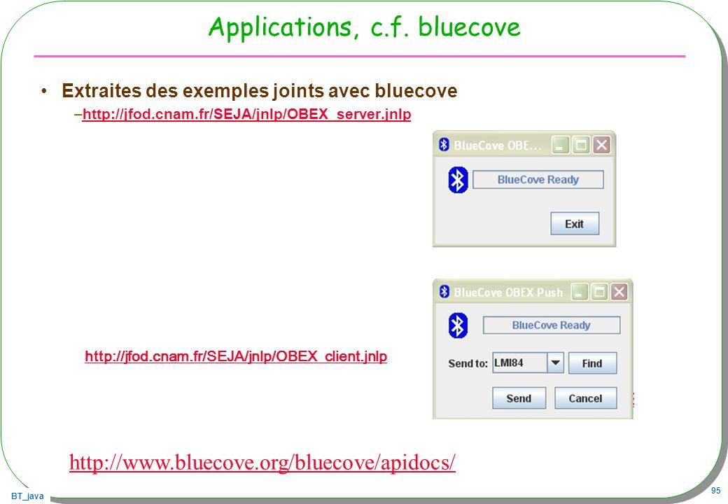Applications, c.f. bluecove