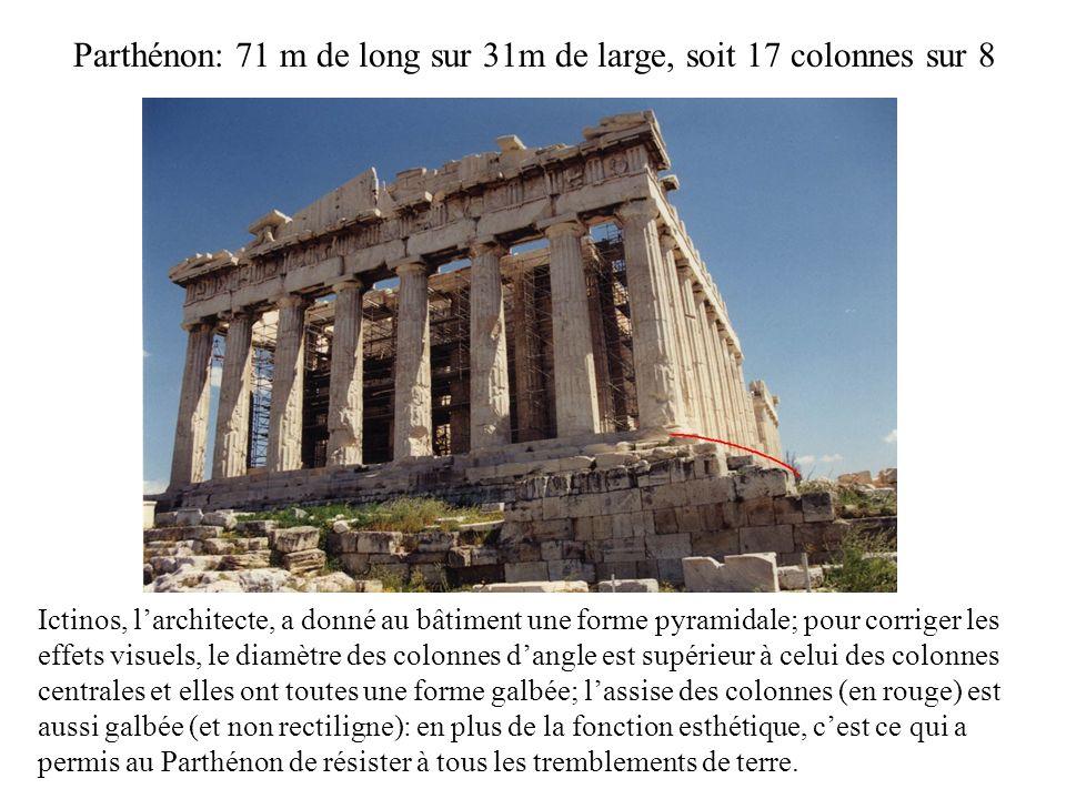 Parthénon: 71 m de long sur 31m de large, soit 17 colonnes sur 8