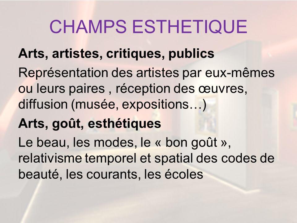 CHAMPS ESTHETIQUE Arts, artistes, critiques, publics