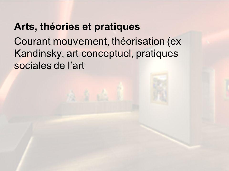 Arts, théories et pratiques Courant mouvement, théorisation (ex Kandinsky, art conceptuel, pratiques sociales de l'art