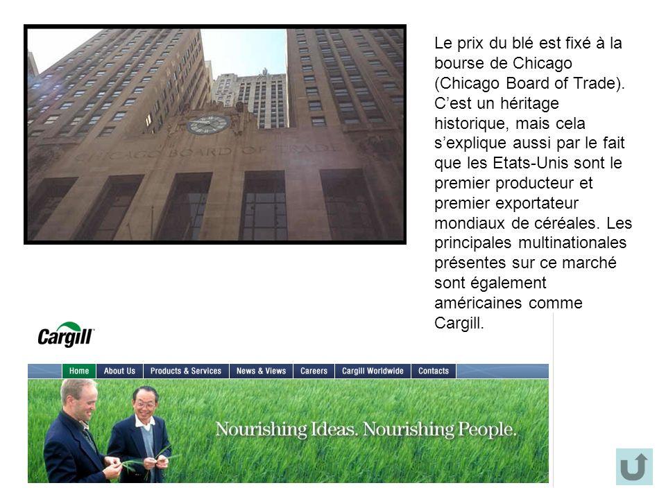 Le prix du blé est fixé à la bourse de Chicago (Chicago Board of Trade).