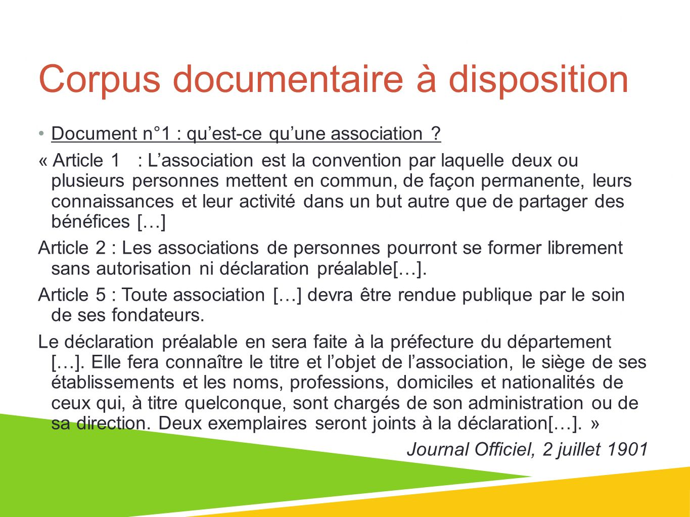Corpus documentaire à disposition