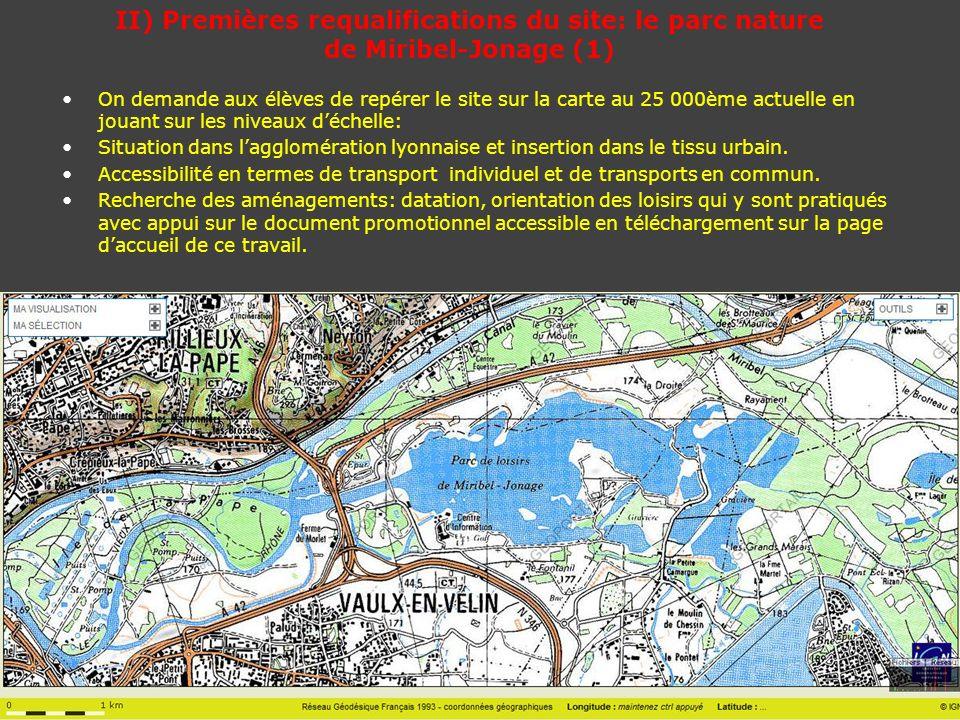 II) Premières requalifications du site: le parc nature de Miribel-Jonage (1)