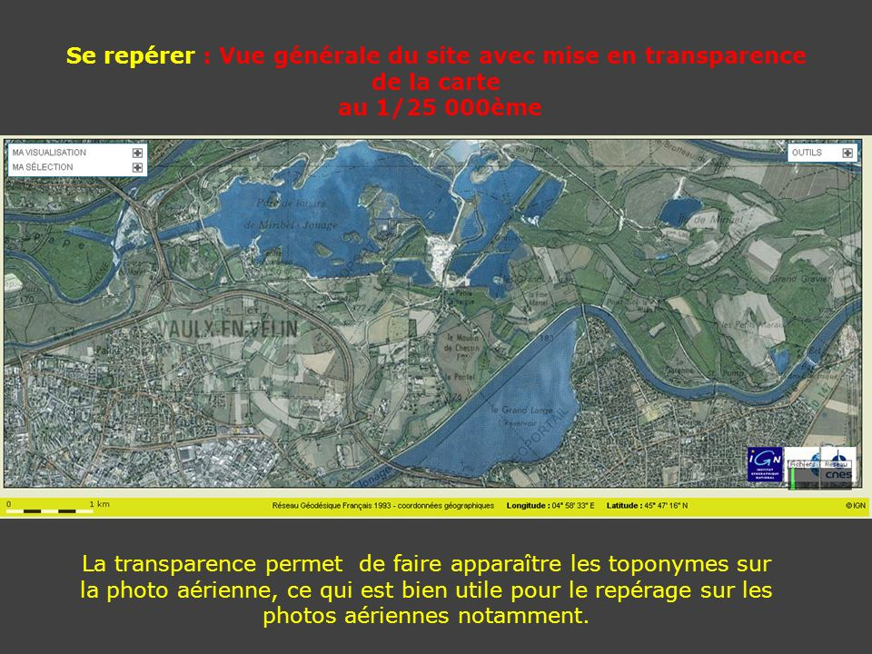 Se repérer : Vue générale du site avec mise en transparence de la carte au 1/25 000ème