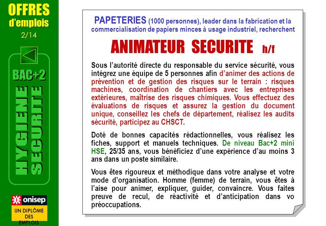 ANIMATEUR SECURITE h/f