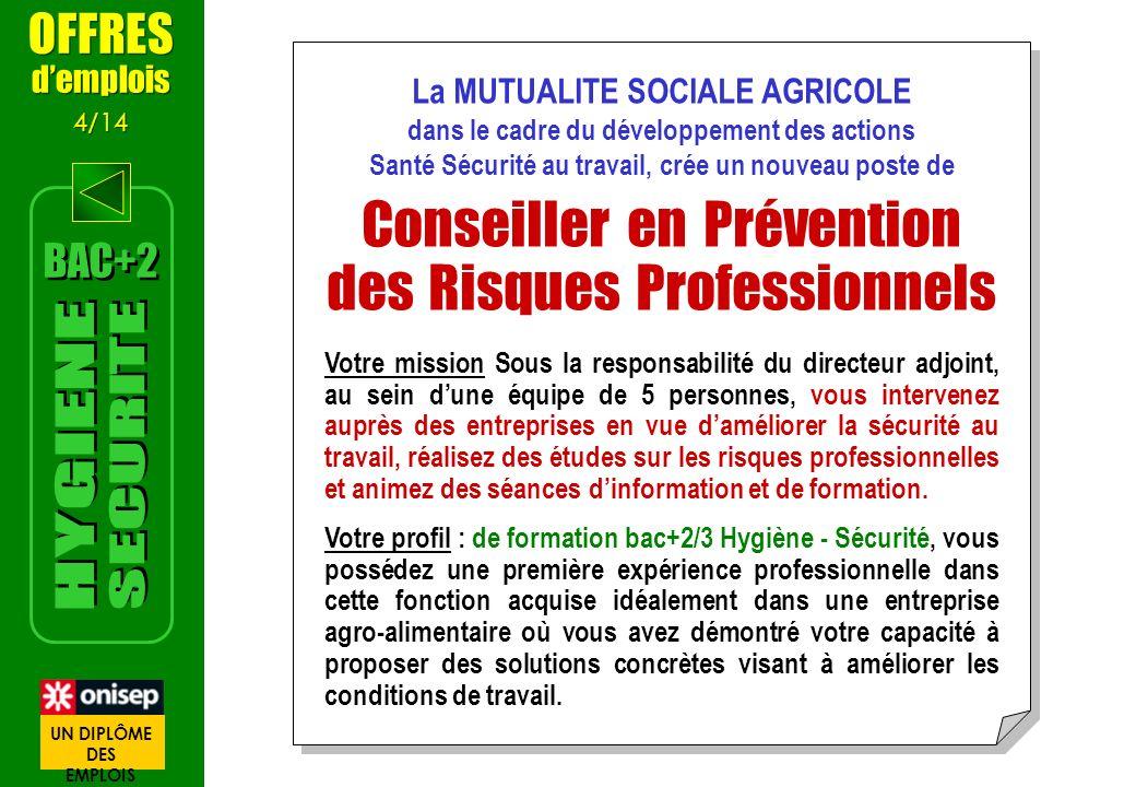 Conseiller en Prévention des Risques Professionnels