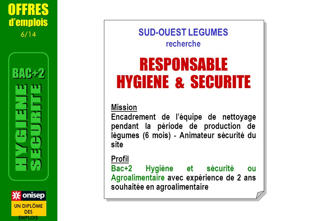 RESPONSABLE HYGIENE & SECURITE SECURITE HYGIENE OFFRES BAC+2 d'emplois