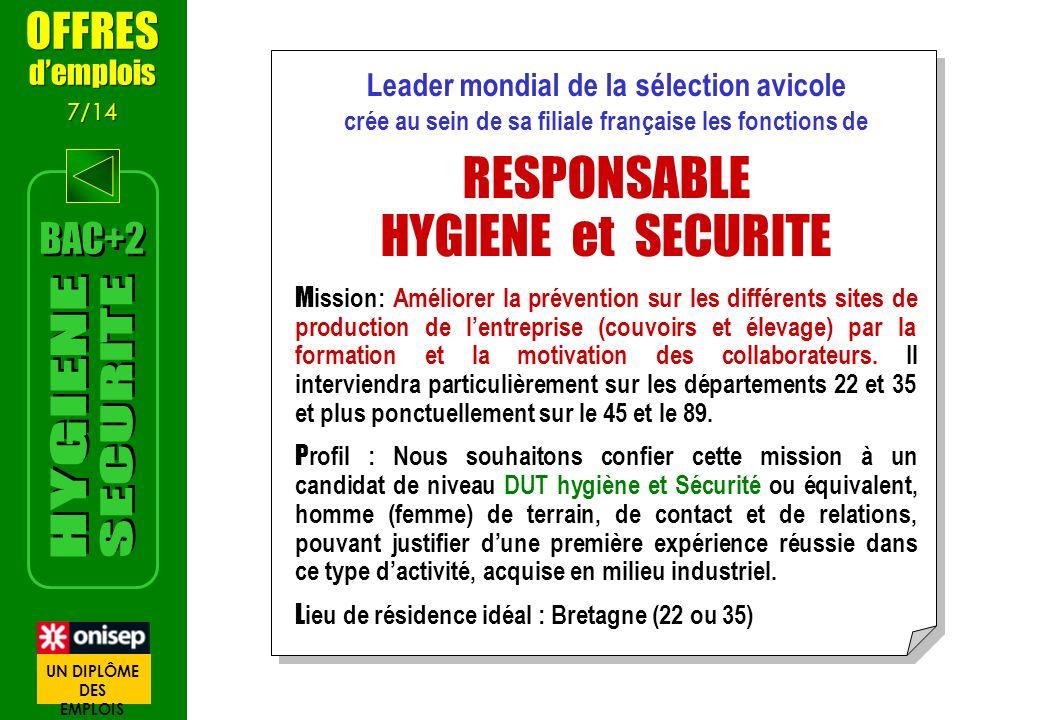 RESPONSABLE HYGIENE et SECURITE SECURITE HYGIENE OFFRES BAC+2