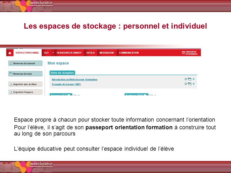 Les espaces de stockage : personnel et individuel