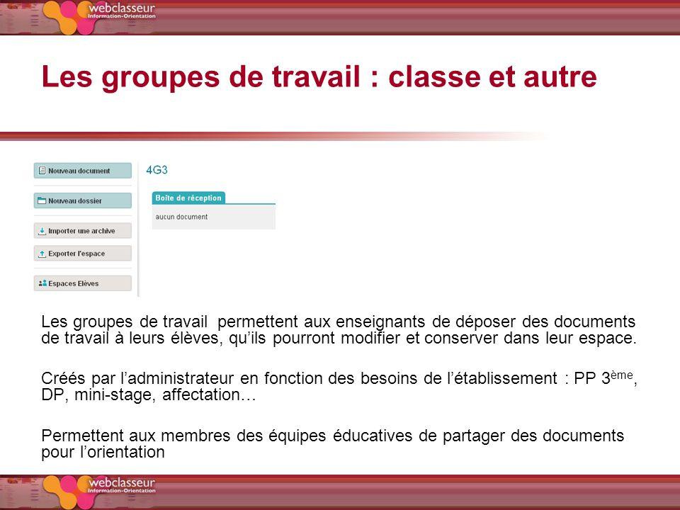 Les groupes de travail : classe et autre