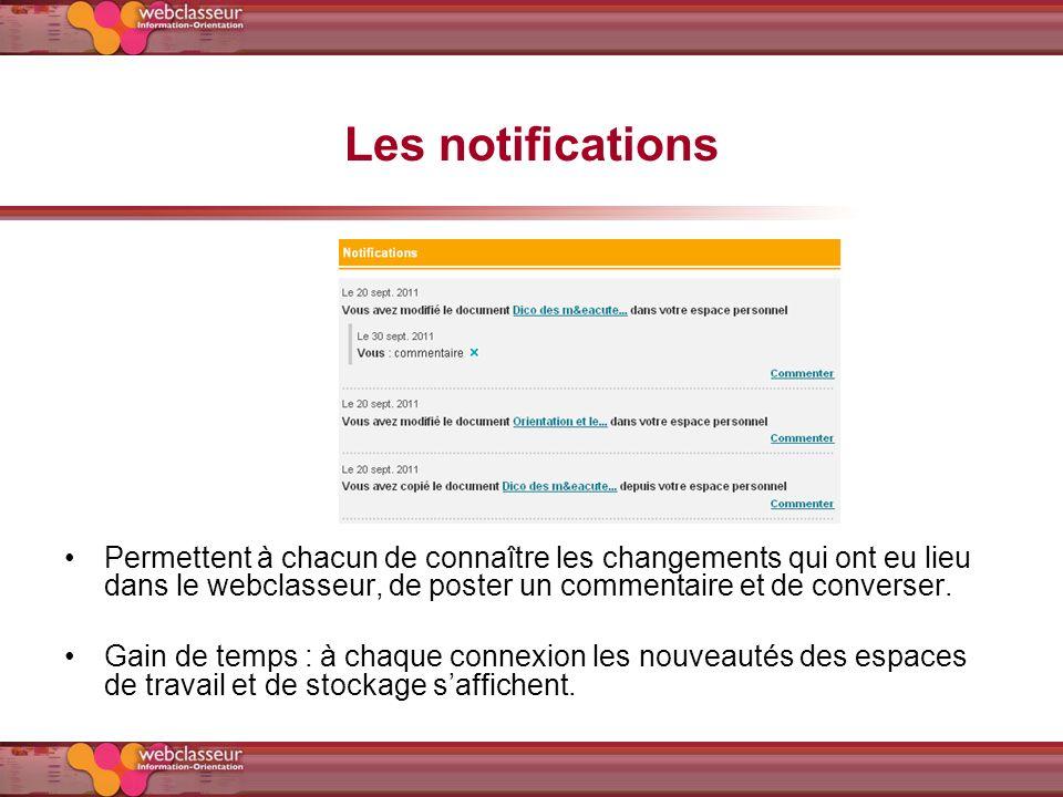 Les notifications Permettent à chacun de connaître les changements qui ont eu lieu dans le webclasseur, de poster un commentaire et de converser.