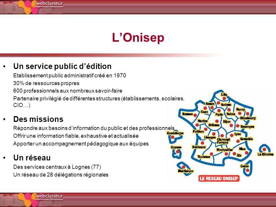 L'Onisep Un service public d'édition Des missions Un réseau