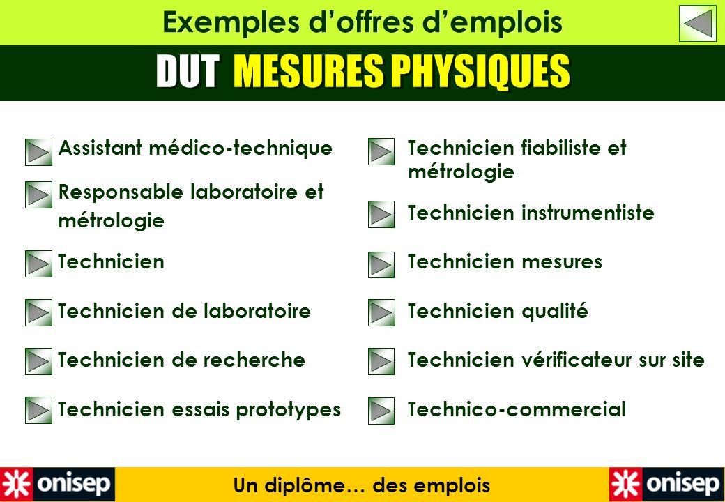 Exemples d'offres d'emplois Un diplôme… des emplois