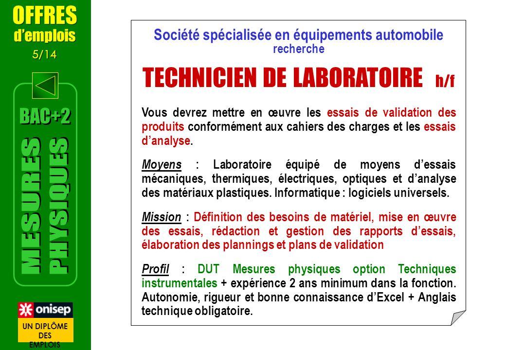 offre d emploi technicien d u0026 39 analyses biomedicales