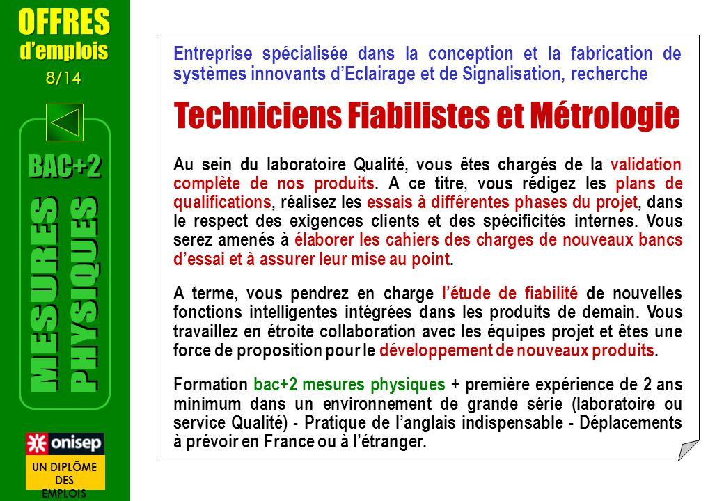 Techniciens Fiabilistes et Métrologie
