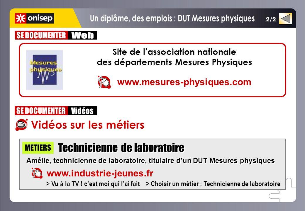 Un diplôme, des emplois : DUT Mesures physiques SE DOCUMENTER Web