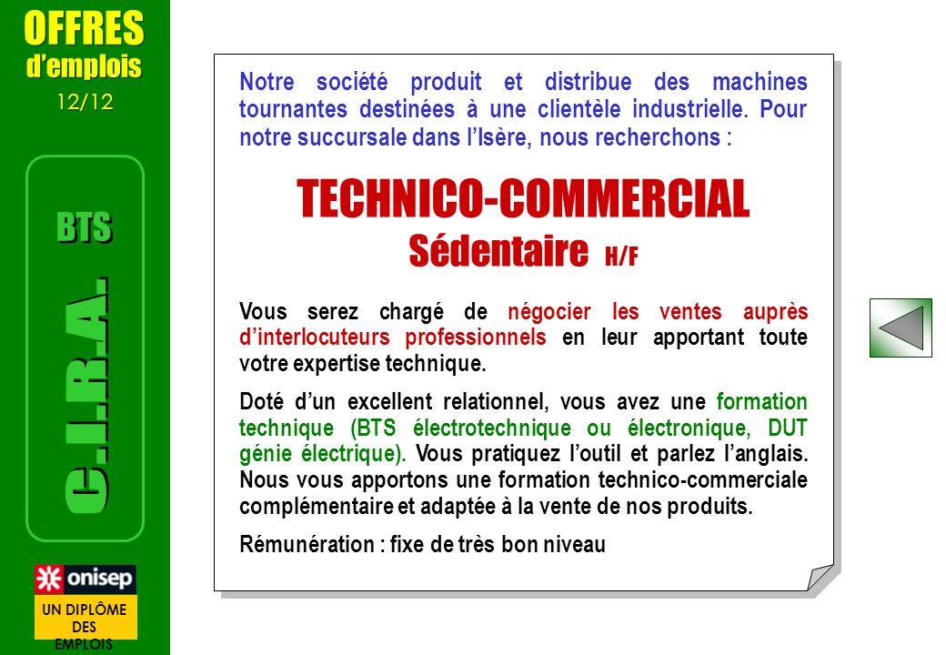 TECHNICO-COMMERCIAL C.I.R.A. OFFRES Sédentaire H/F BTS d'emplois