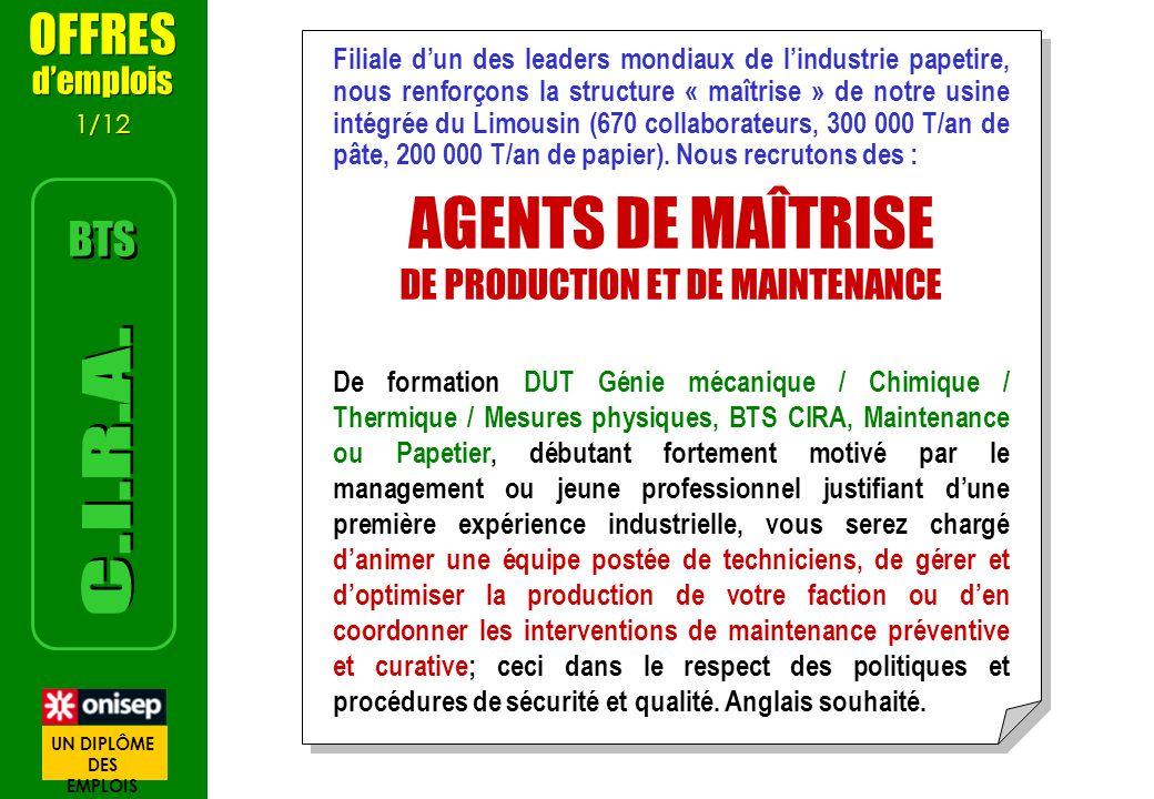 DE PRODUCTION ET DE MAINTENANCE