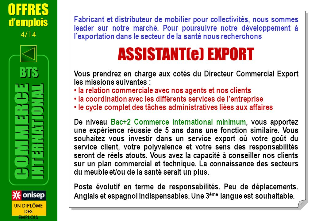 ASSISTANT(e) EXPORT INTERNATIONAL COMMERCE OFFRES BTS d'emplois