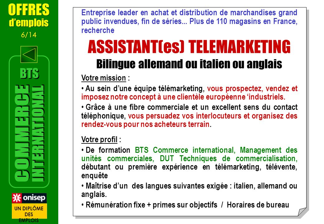 ASSISTANT(es) TELEMARKETING