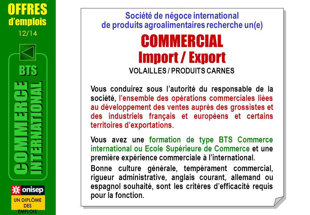 Société de négoce international VOLAILLES / PRODUITS CARNES