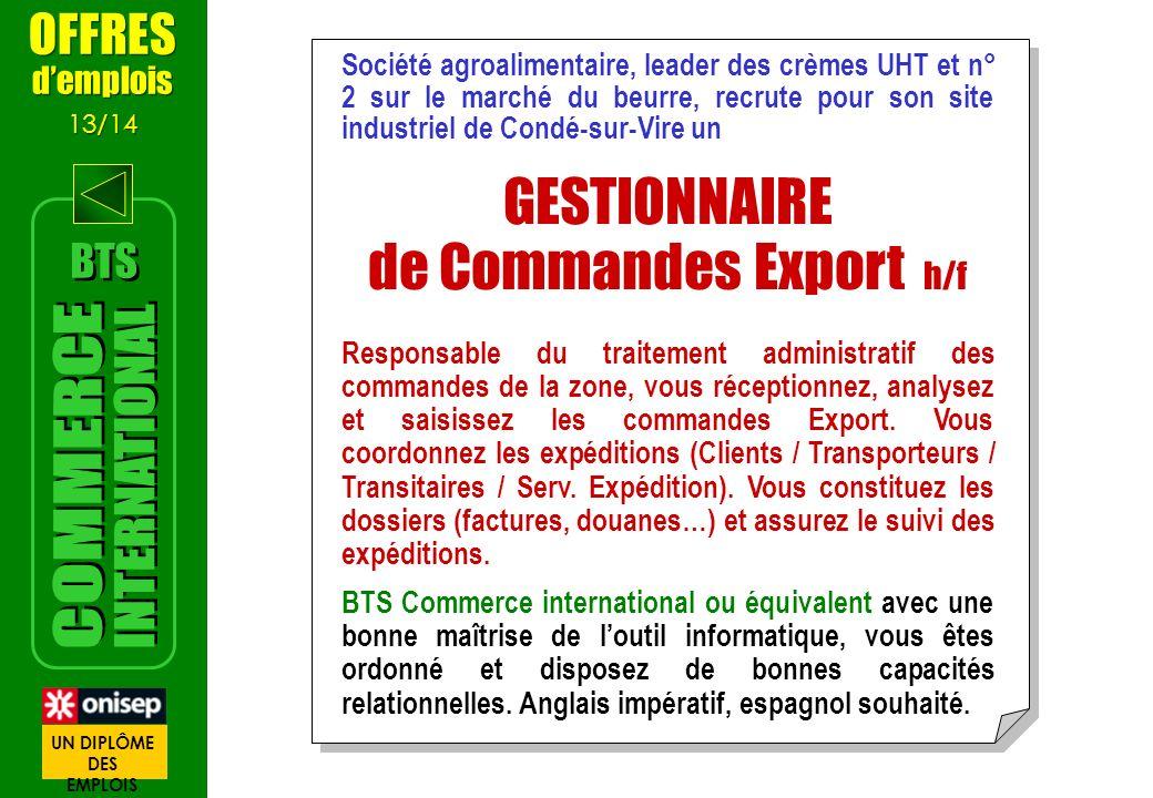 de Commandes Export h/f
