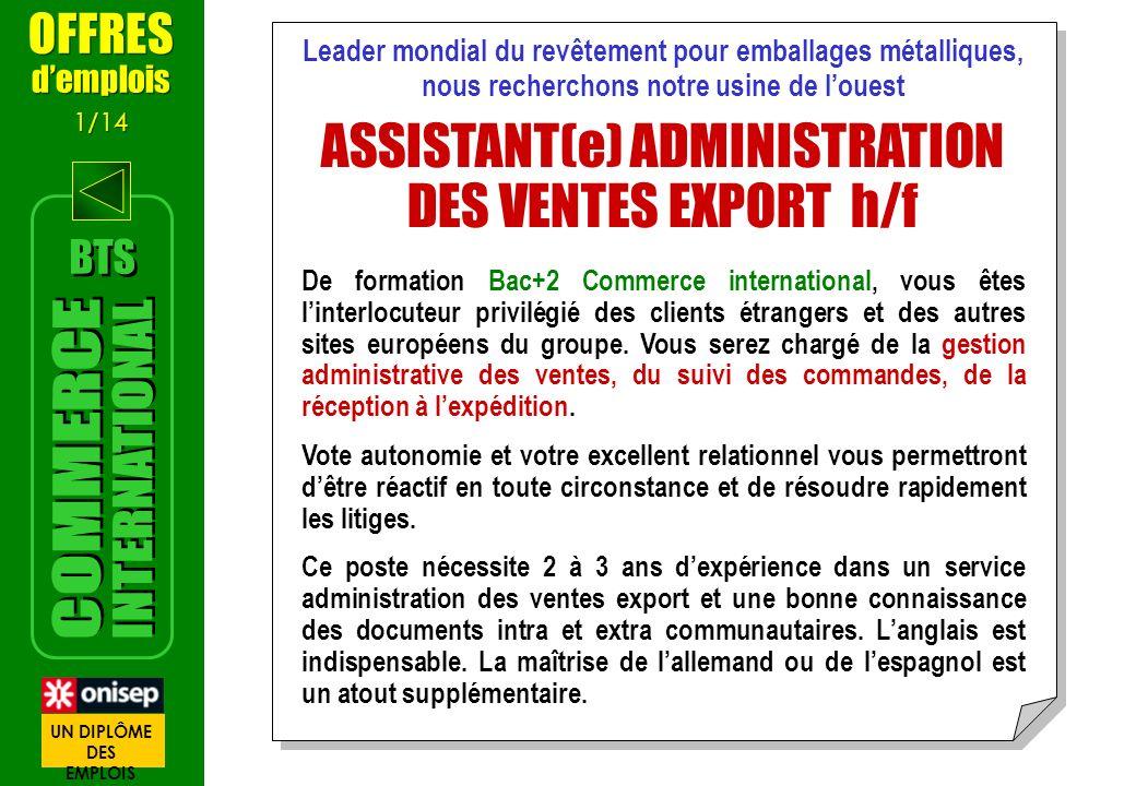 ASSISTANT(e) ADMINISTRATION DES VENTES EXPORT h/f