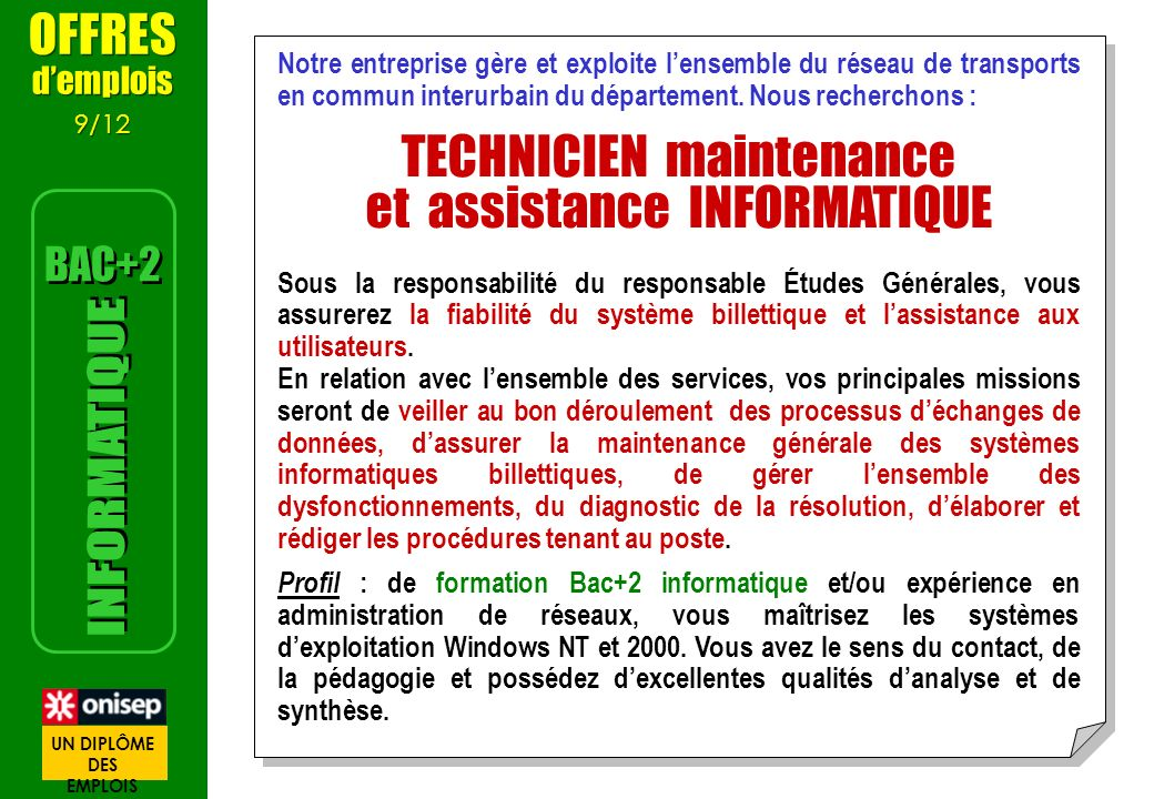 TECHNICIEN maintenance et assistance INFORMATIQUE
