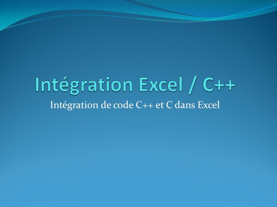 Intégration Excel / C++