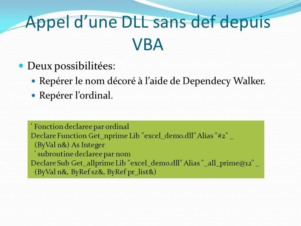 Appel d'une DLL sans def depuis VBA