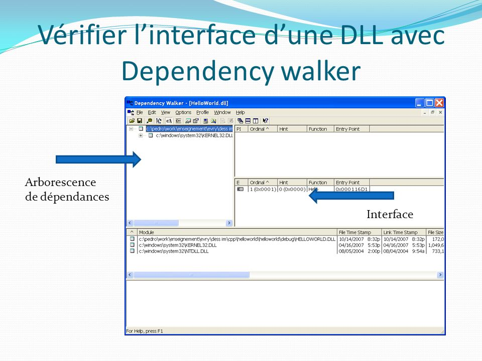 Vérifier l'interface d'une DLL avec Dependency walker