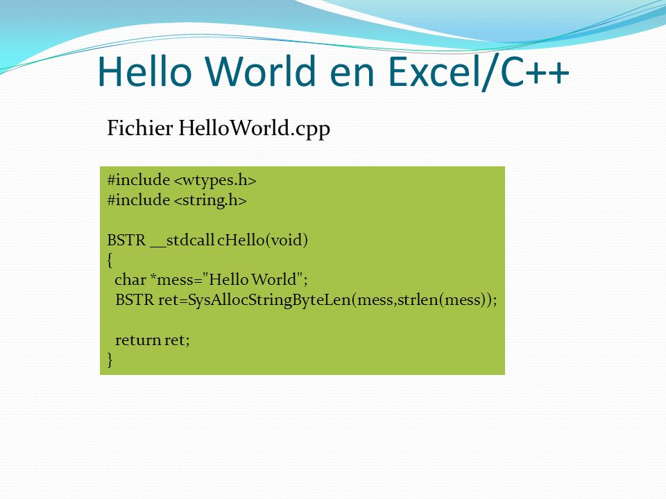Hello World en Excel/C++