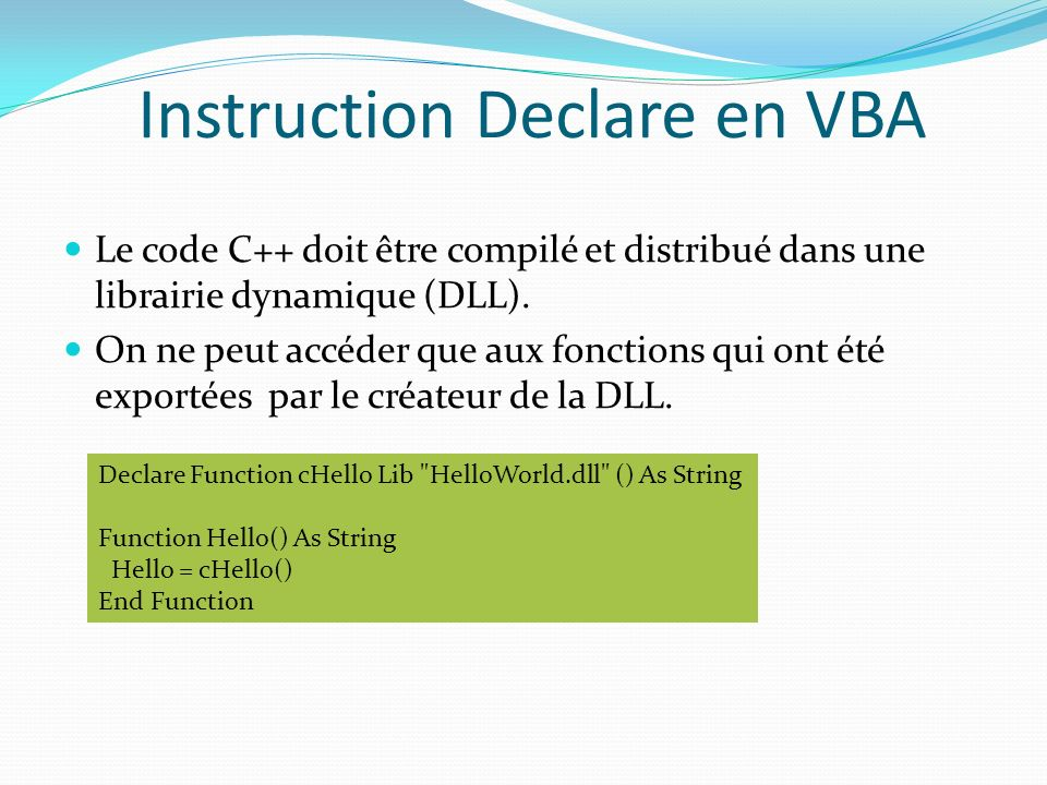 Instruction Declare en VBA