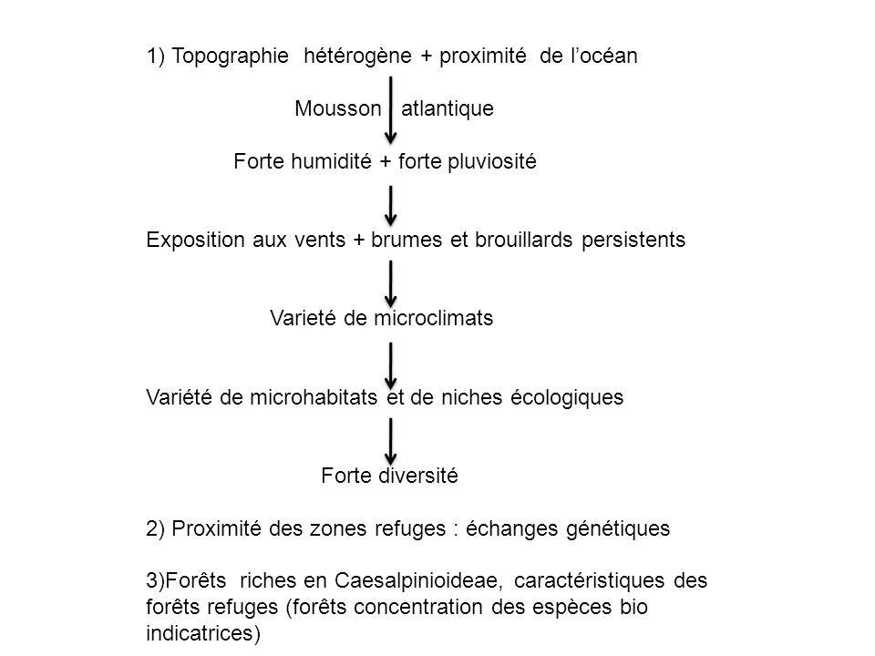 1) Topographie hétérogène + proximité de l'océan