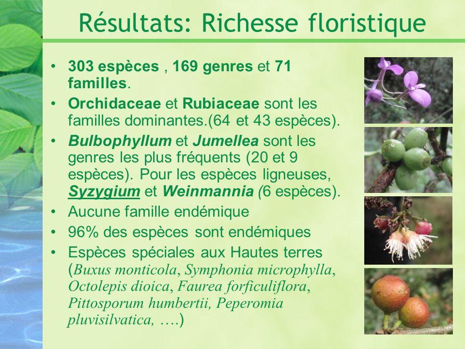 Résultats: Richesse floristique