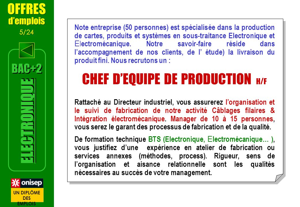 CHEF D'EQUIPE DE PRODUCTION H/F