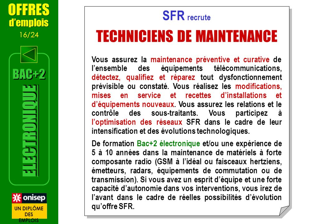 TECHNICIENS DE MAINTENANCE