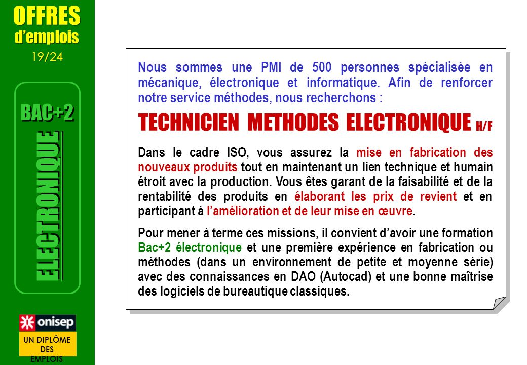 TECHNICIEN METHODES ELECTRONIQUE H/F