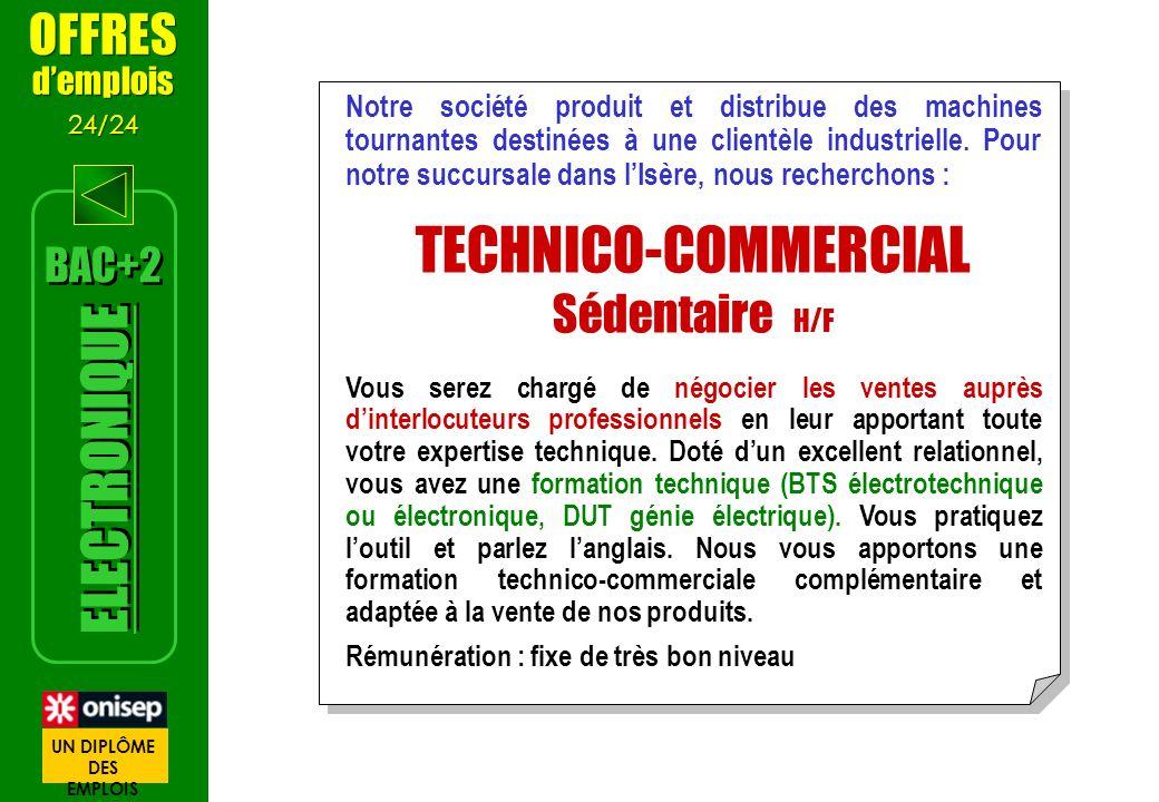 TECHNICO-COMMERCIAL ELECTRONIQUE OFFRES Sédentaire H/F BAC+2 d'emplois