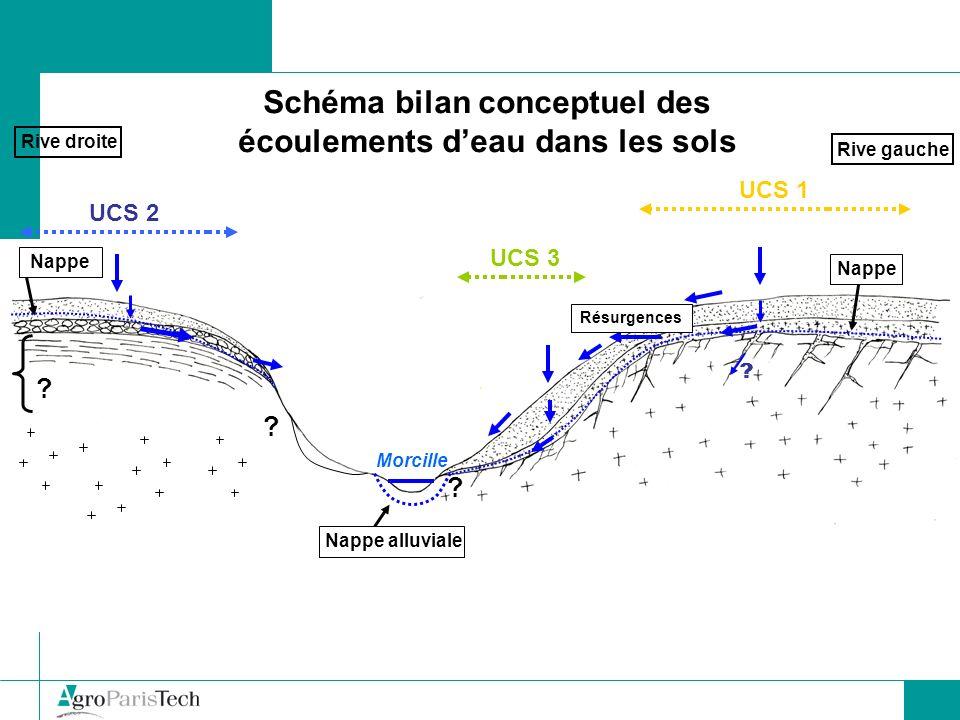 Schéma bilan conceptuel des écoulements d'eau dans les sols