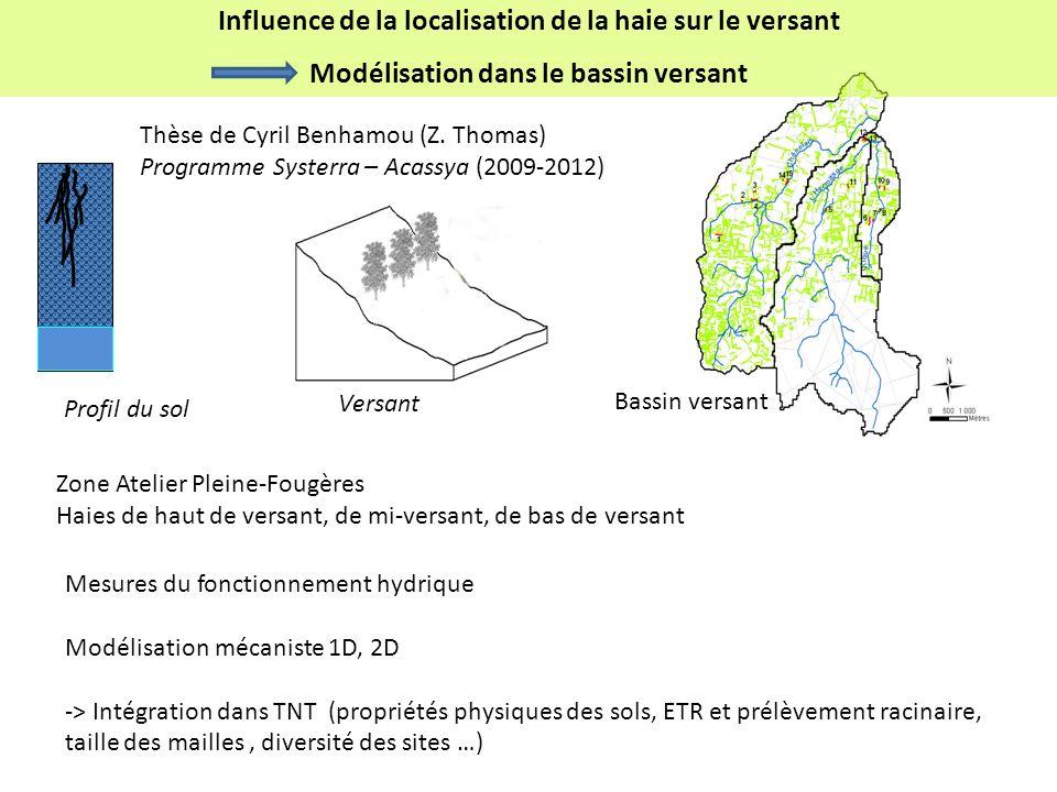 Influence de la localisation de la haie sur le versant
