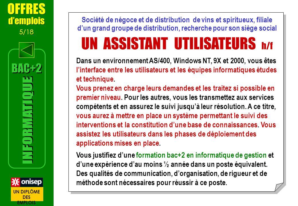 UN ASSISTANT UTILISATEURS h/f
