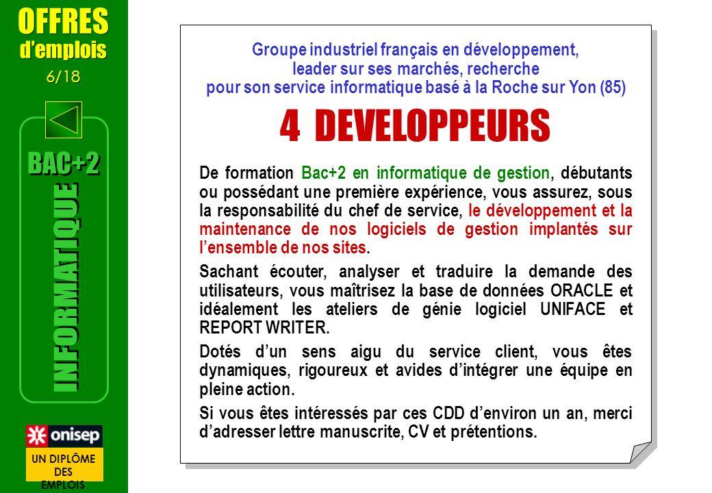 4 DEVELOPPEURS INFORMATIQUE OFFRES BAC+2 d'emplois