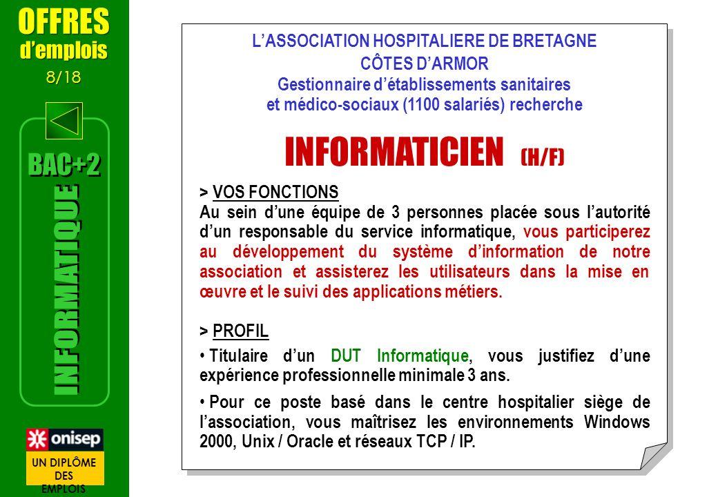 INFORMATICIEN (H/F) INFORMATIQUE OFFRES BAC+2 d'emplois