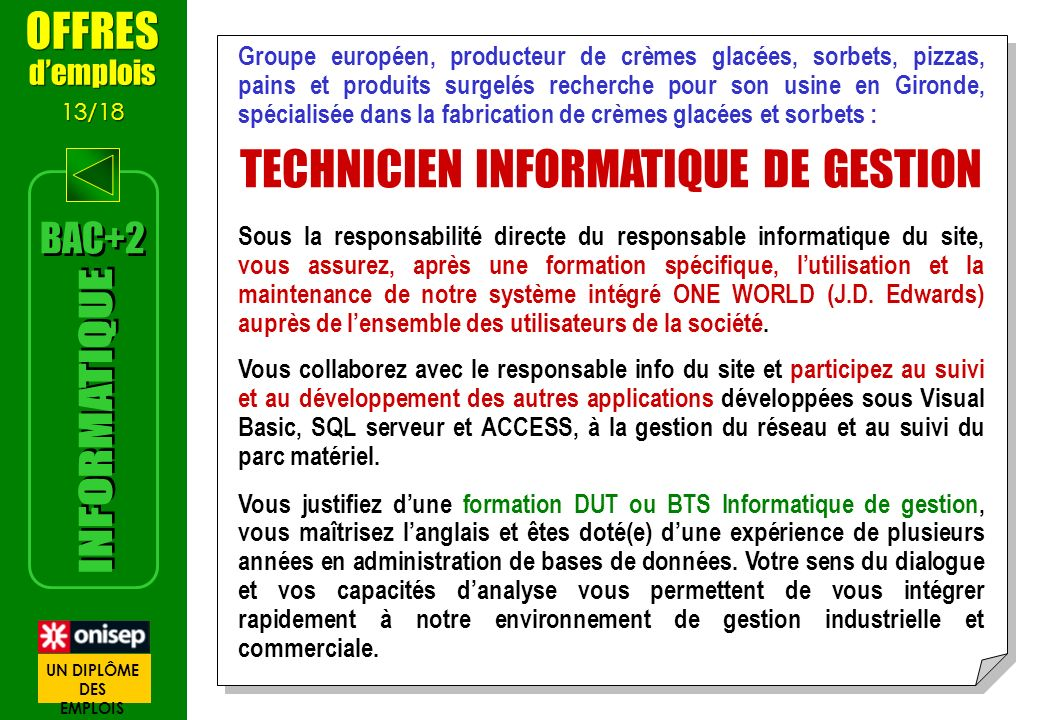 TECHNICIEN INFORMATIQUE DE GESTION