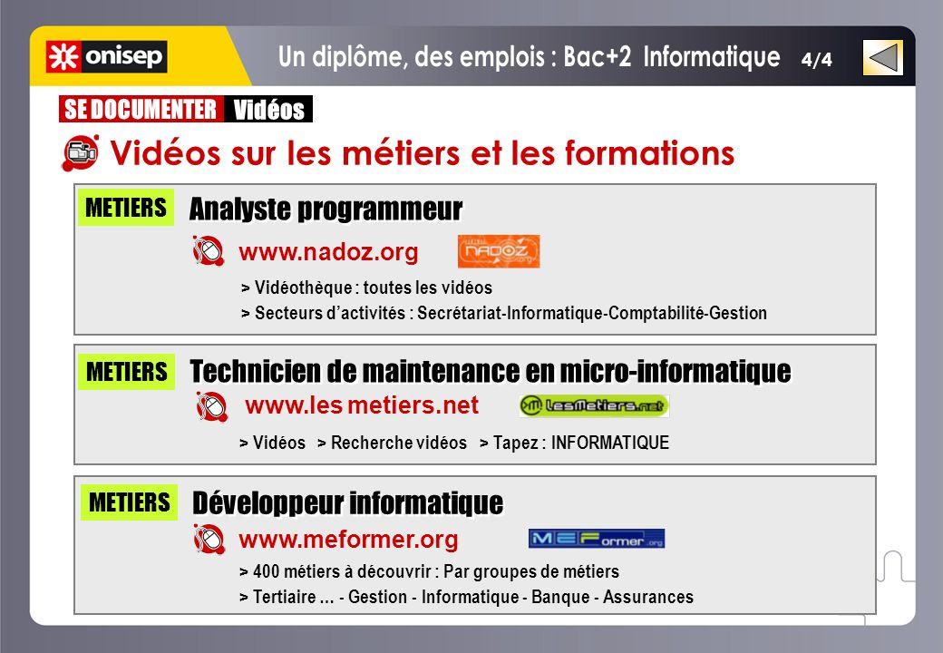 Un diplôme, des emplois : Bac+2 Informatique