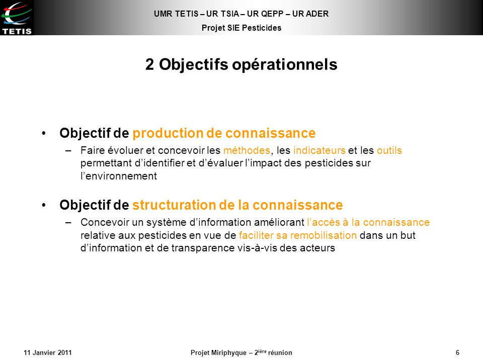 2 Objectifs opérationnels
